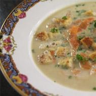 aspergesoep met croutons en gerookte zalm - Jeroen Meus