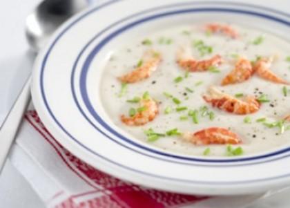 Romige soep met rivierkreeftjes
