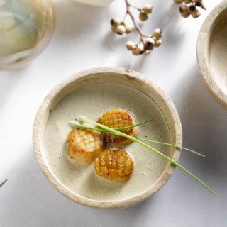 Veloute van champignons met sint-jakobsvruchten