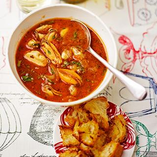 Mosselsoep met croutons van Jamie Oliver
